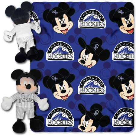 "Official MLB and Disney Cobrand Colorado Rockies ""Pitch Crazy"" Mickey Mouse Hugger Character Shaped Pillow and 40""x 50"" Fleece Throw Set"
