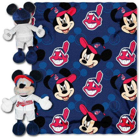 "Official MLB and Disney Cobrand Cleveland Indians ""Pitch Crazy"" Mickey Mouse Hugger Character Shaped Pillow and 40""x 50"" Fleece Throw Set"