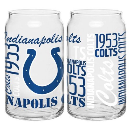 Boelter Brands NFL Set of Two 16 Ounce Spirit Glass Can Set, Indianapolis Colts