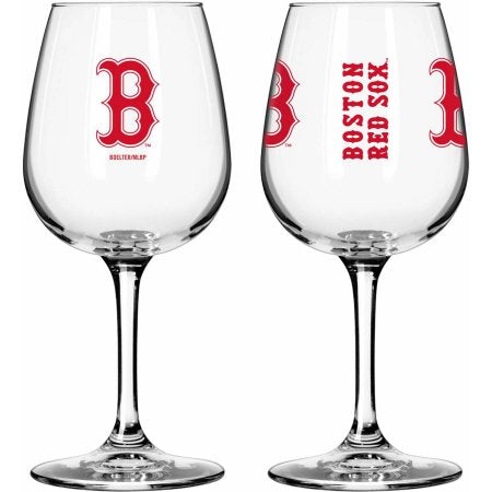 Boelter Brands MLB Set of Two 12 Ounce Wine Glass Set, Boston Red Sox