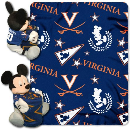 "Official NCAA and Disney Cobrand Virginia Cavaliers Mickey Mouse Hugger Character Shaped Pillow and 40""x 50"" Fleece Throw Set"