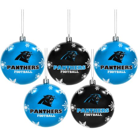 Forever Collectibles NFL 5-Pack Shatterproof Ball Ornaments - Carolina Panthers