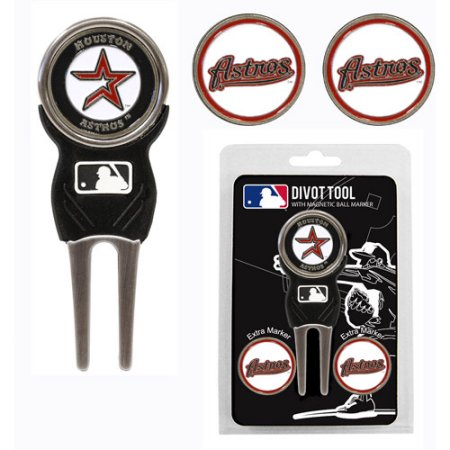 Team Golf MLB Houston Astros Divot Tool Pack With 3 Golf Ball Markers