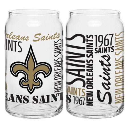 Boelter Brands NFL Set of Two 16 Ounce Spirit Glass Can Set, New Orleans Saints
