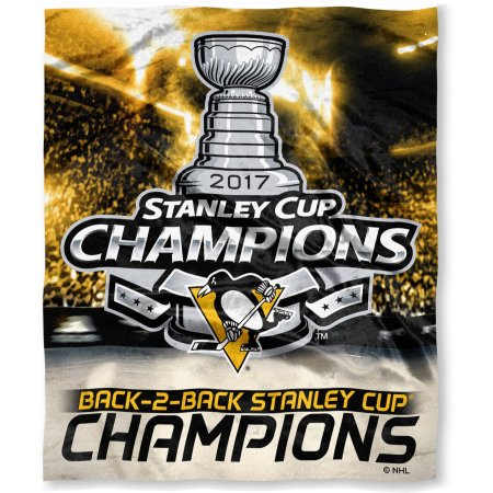 "Official National Hockey League Pittsburgh Penguins ""2017 Stanley Cup Champions"" High-Definition Silk Touch Throw, 50"" x 60"""