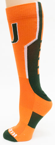 NCAA Miami Hurricanes Orange Athletic Performance Socks