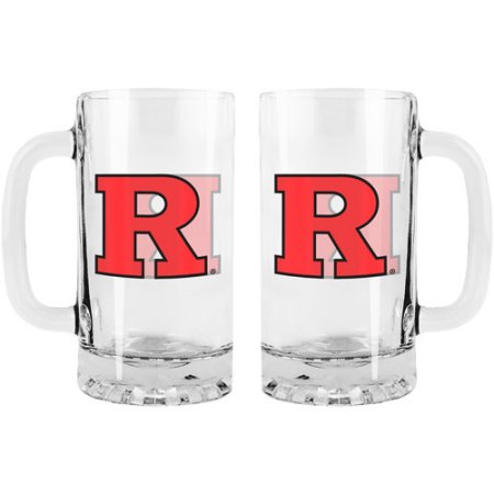 NCAA Rutgers Scarlet Knights 16 oz Satin Etch Glass Tankard Set, 2pk