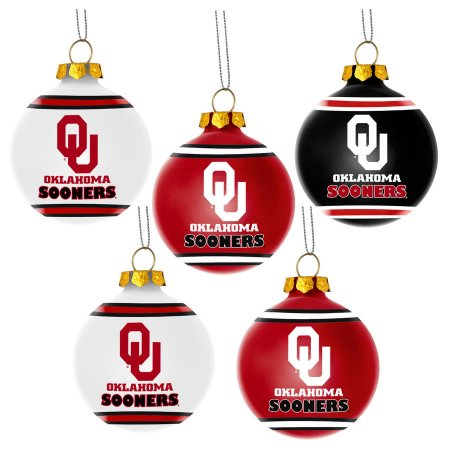 Forever Collectibles NCAA 5-Pack Shatterproof Ball Ornaments - Oklahoma Sooners