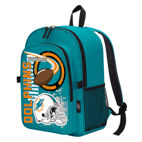 "NFL Miami Dolphins ""Accelerator"" Backpack and Lunch Bag / Box Set"