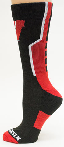 NCAA Wisconsin Badgers Black Athletic Performance Socks
