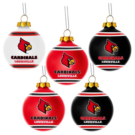 Forever Collectibles NCAA 5-Pack Shatterproof Ball Ornaments - Louisville Cardinals