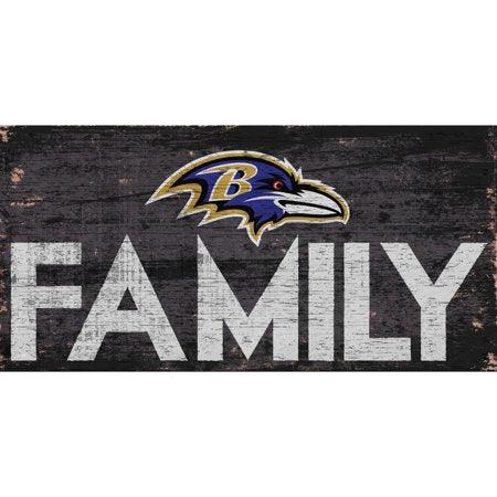 NFL Baltimore Ravens 6'' x 12'' Distressed Wood Family Sign