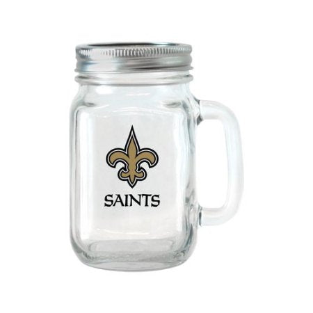 NFL 16 oz New Orleans Saints Glass Jar with Lid and Handle, 2pk