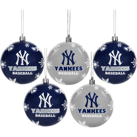 Forever Collectibles MLB 5-Pack Shatterproof Ball Ornaments - New York Yankees