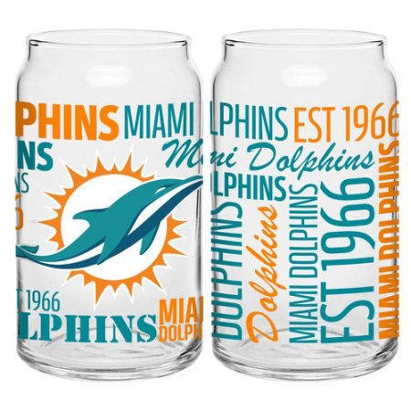 Boelter Brands NFL Set of Two 16 Ounce Spirit Glass Can Set, Miami Dolphins