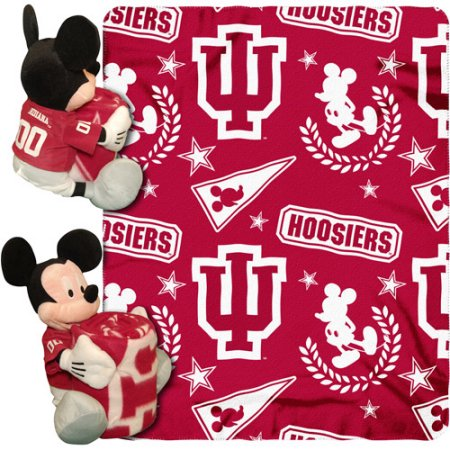 "Disney NCAA Hugger Pillow and 40"" x 50"" Throw Set, Indiana Hoosiers"