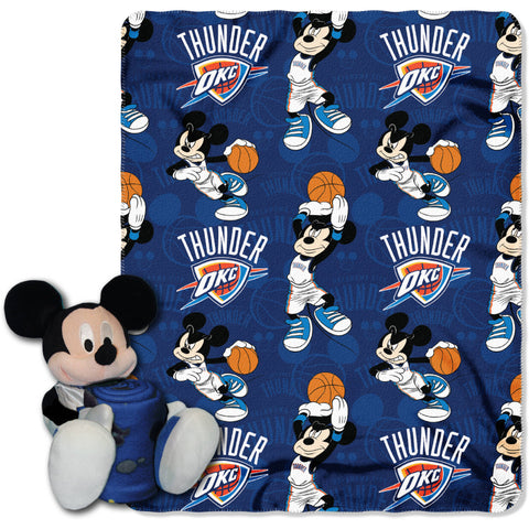 "NBA Disney Oklahoma City Thunder Mickey Mouse Hugger Pillow and 40""x 50"" Fleece Throw Blanket Set"