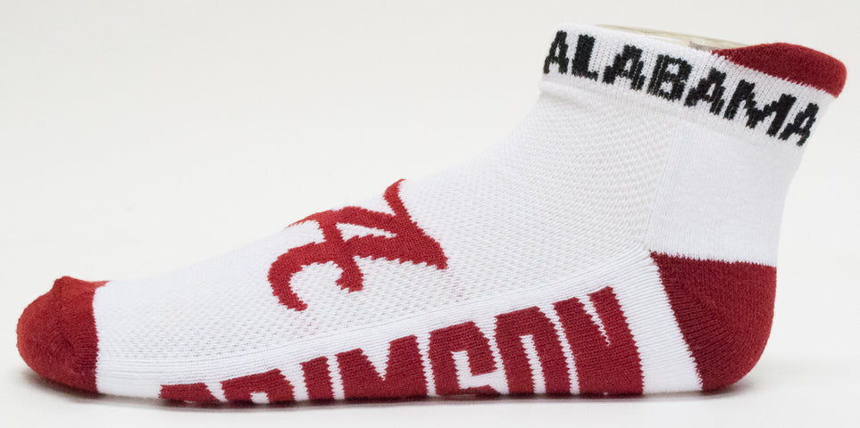 NCAA Alabama Crimson Tide White Footie Socks