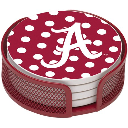 NCAA Alabama Crimson Tide Stoneware Drink Coaster Set with Holder Included