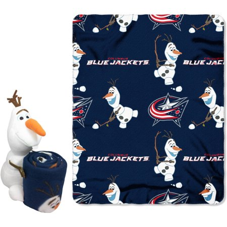 "Official NHL and Disney Cobrand Columbus Blue Jackets Olaf Hugger Character Shaped Pillow and 40""x 50"" Fleece Throw Set"