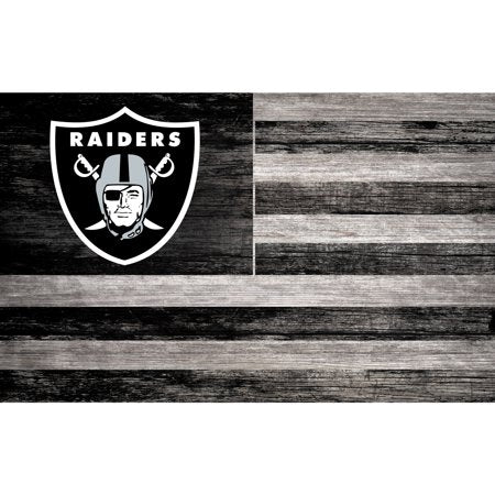 NFL Oakland Raiders 11'' x 19'' Distressed Flag Sign