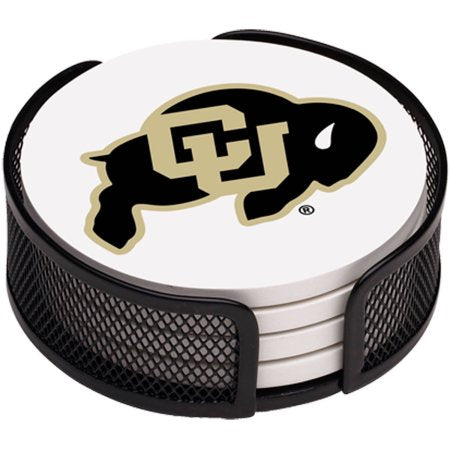 NCAA Colorado Buffaloes Stoneware Drink Coaster Set with Holder Included