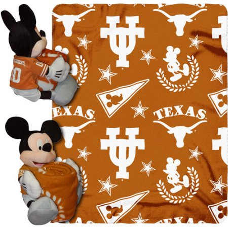 "Disney NCAA Hugger Pillow and 40"" x 50"" Throw Set, Texas Longhorns"