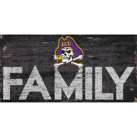 NCAA ECU Pirates 6'' x 12'' Distressed Wood Family Sign
