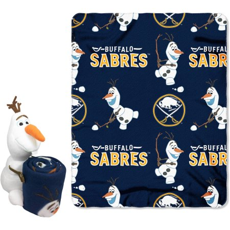 "Official NHL and Disney Cobrand Buffalo Sabres Olaf Hugger Character Shaped Pillow and 40""x 50"" Fleece Throw Set"