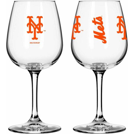 Boelter Brands MLB Set of Two 12 Ounce Wine Glass Set, New York Mets