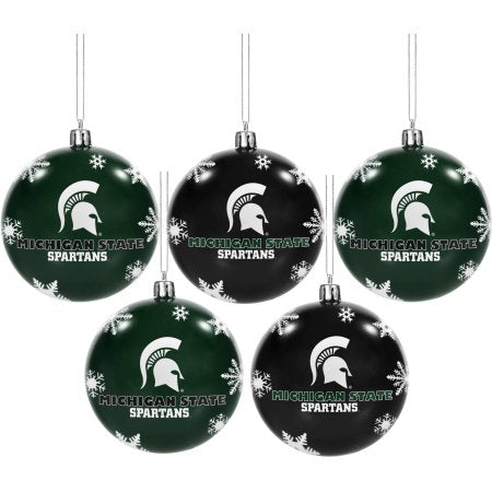 Forever Collectibles NCAA 5-Pack Shatterproof Ball Ornaments - Michigan State Spartans