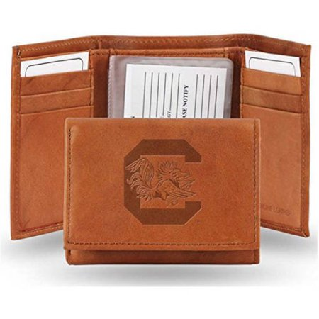 NCAA South Carolina Gamecocks Embossed Leather Trifold Wallet