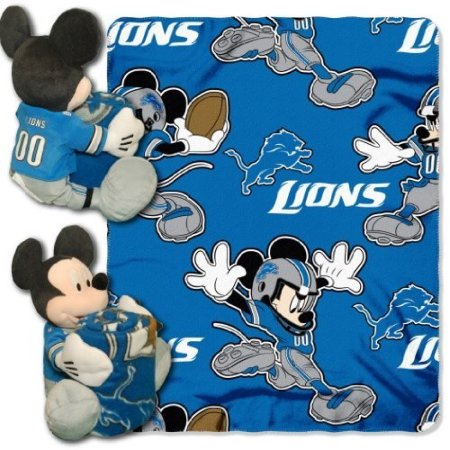 "Disney NFL Detroit Lions Hugger Pillow and 40"" x 50"" Throw Set"