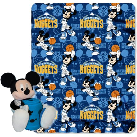 "Official NBA and Disney Cobrand Denver Nuggets Mickey Mouse Hugger Character Shaped Pillow and 40""x 50"" Fleece Throw Set"