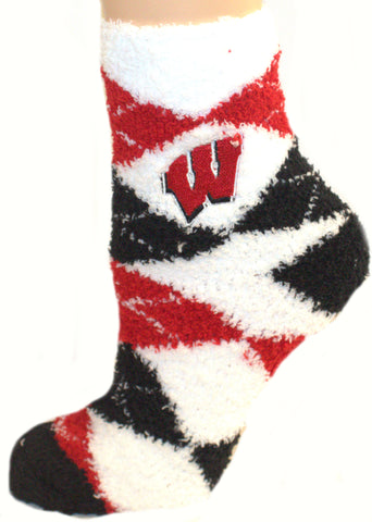 NCAA Wisconsin Badgers Argyle Fuzzy Socks