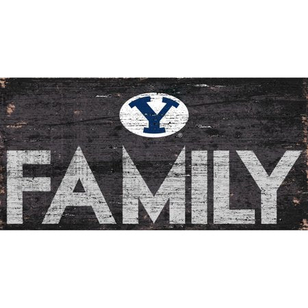 NCAA BYU Cougars 6'' x 12'' Distressed Wood Family Sign
