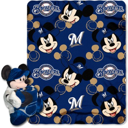 "Official MLB and Disney Cobrand Milwaukee Brewers ""Pitch Crazy"" Mickey Mouse Hugger Character Shaped Pillow and 40""x 50"" Fleece Throw Set"