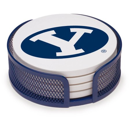 NCAA Brigham Young University Stoneware Drink Coaster Set with Holder Included
