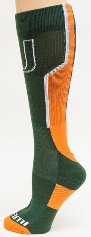 NCAA Miami Hurricanes Green Athletic Socks