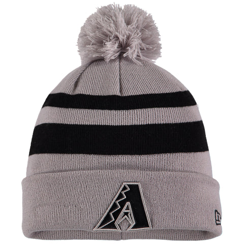 Arizona Diamondbacks New Era Rebound Cuffed Knit Hat with Pom - Gray/Black