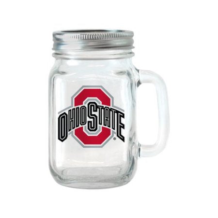 NCAA 16 oz Ohio State Buckeyes Glass Jar with Lid and Handle, 2pk