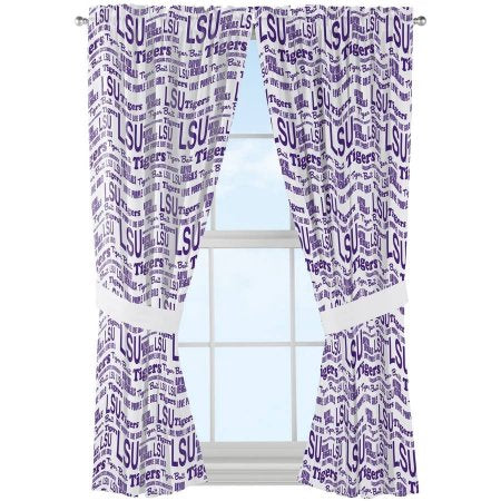 "NCAA Louisiana State Tigers ""Anthem"" Window Curtain Panels - Set of 2 - 36"" x 48"""