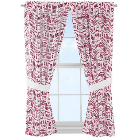 "NCAA Arkansas Razorbacks ""Anthem"" Window Curtain Panels - Set of 2 - 36"" x 48"""