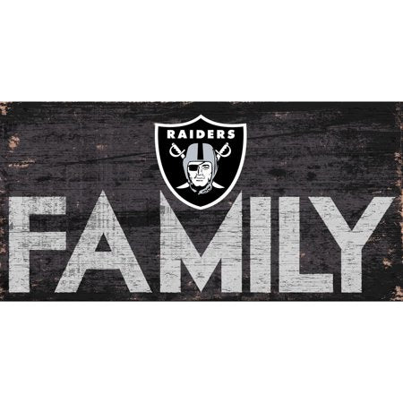 NFL Oakland Raiders 6'' x 12'' Distressed Wood Family Sign