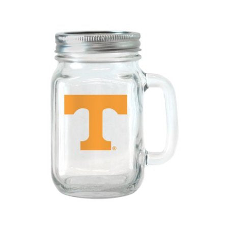 NCAA 16 oz Tennessee Volunteers Glass Jar with Lid and Handle, 2pk