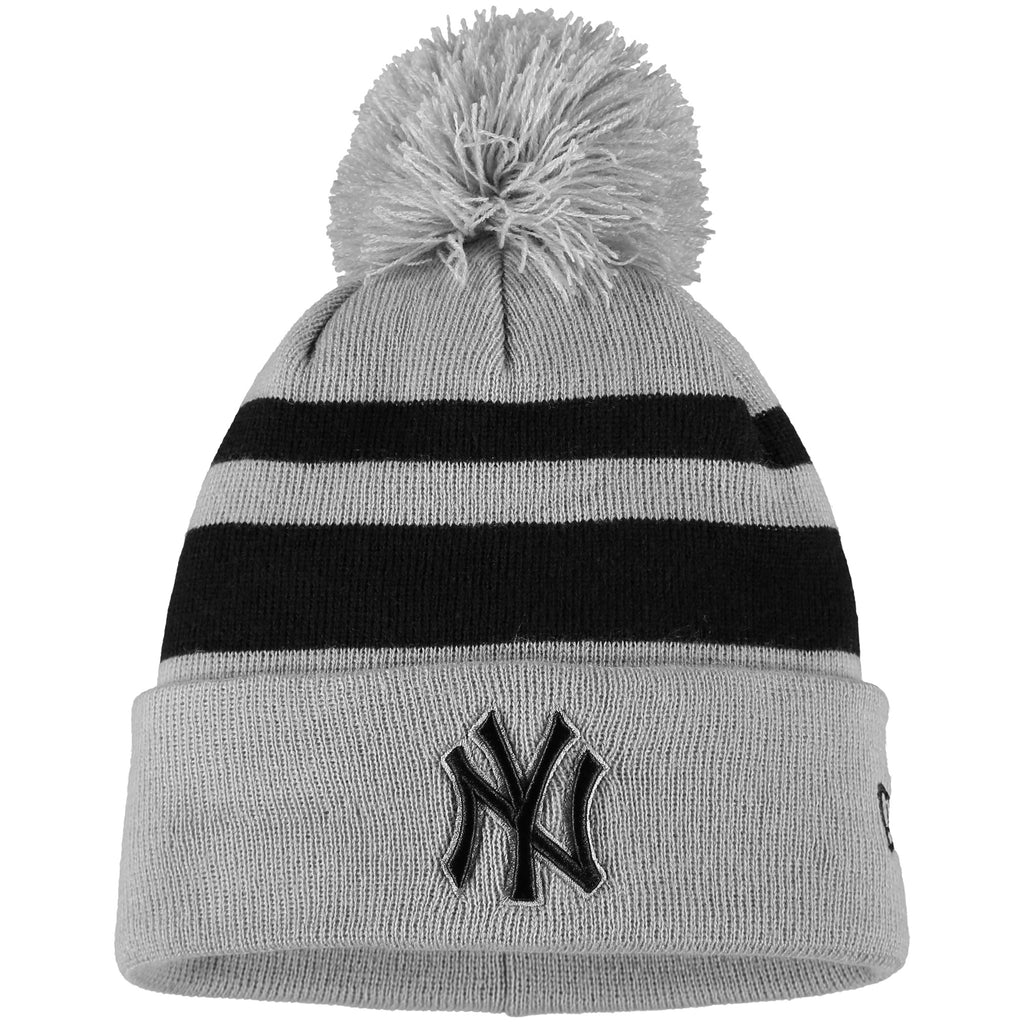 New York Yankees New Era Rebound Cuffed Knit Hat with Pom - Gray/Black