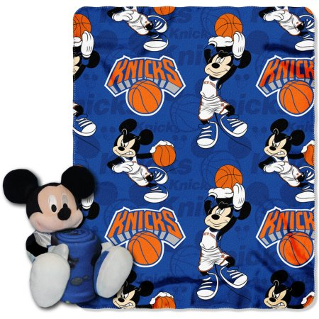 "Official NBA and Disney Cobrand New York Knicks Mickey Mouse Hugger Character Shaped Pillow and 40""x 50"" Fleece Throw Set"