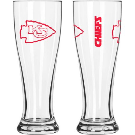 NFL Kansas City Chiefs 16 oz  Gameday Style Glass Pilsner Set, 2pk