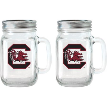 NCAA 16 oz South Carolina Gamecocks Glass Jar with Lid and Handle, 2pk