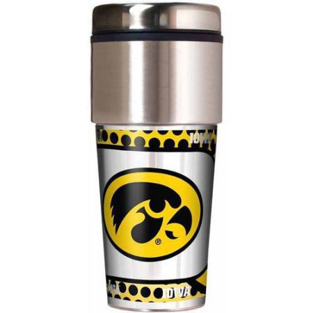 NCAA Iowa Hawkeyes 16 oz Travel Tumbler with Metallic Wrap